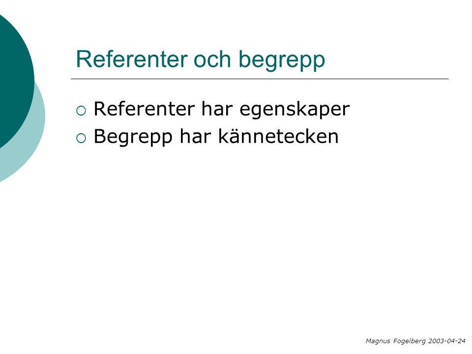 Referenter och begrepp  Referenter har egenskaper  Begrepp har kännetecken Magnus Fogelberg 2003-04-24