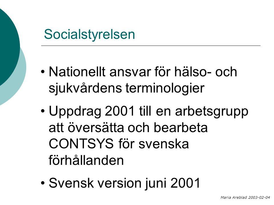 Socialstyrelsen Nationellt ansvar för hälso- och sjukvårdens terminologier Uppdrag 2001 till en arbetsgrupp att översätta och bearbeta CONTSYS för sve
