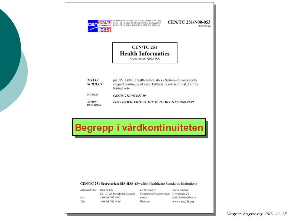 Magnus Fogelberg 2001-12-18 Begrepp i vårdkontinuiteten