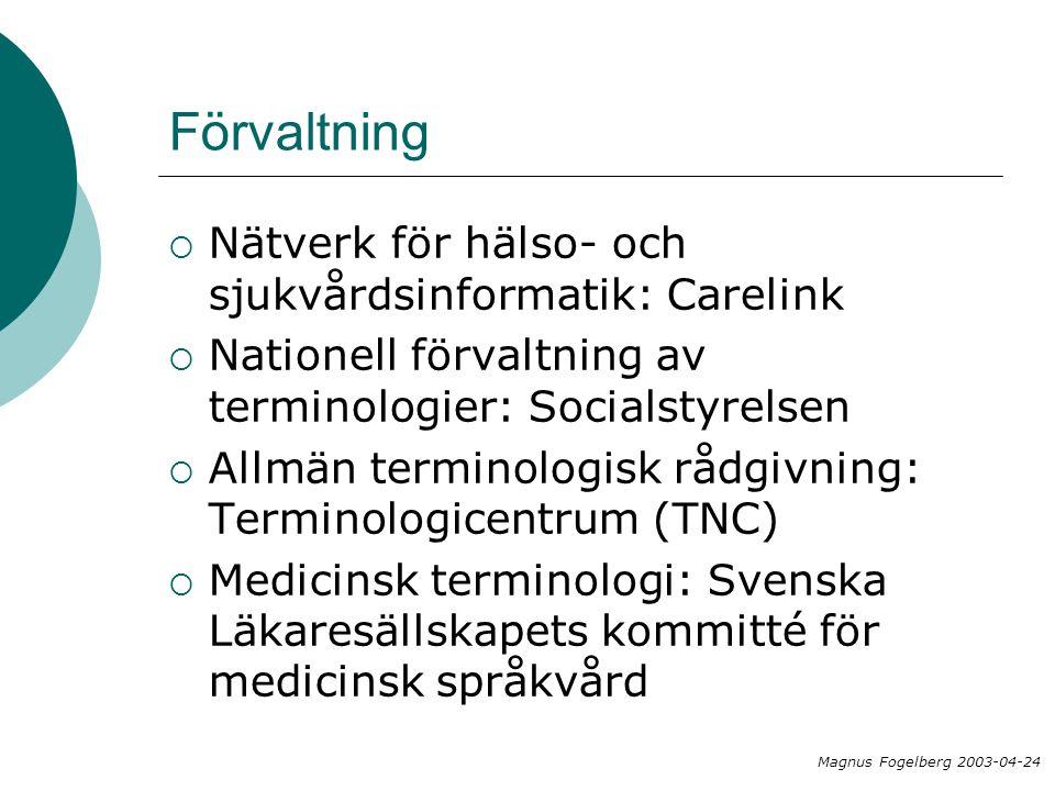 Förvaltning  Nätverk för hälso- och sjukvårdsinformatik: Carelink  Nationell förvaltning av terminologier: Socialstyrelsen  Allmän terminologisk rå