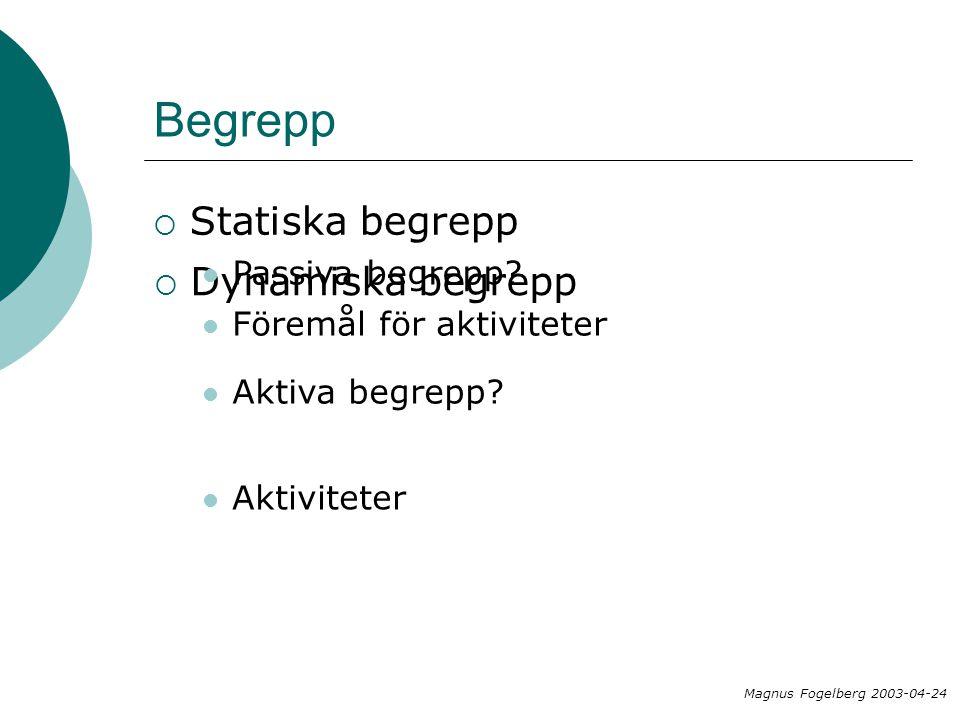 Begrepp  Statiska begrepp  Dynamiska begrepp Passiva begrepp? Aktiva begrepp? Föremål för aktiviteter Aktiviteter Magnus Fogelberg 2003-04-24