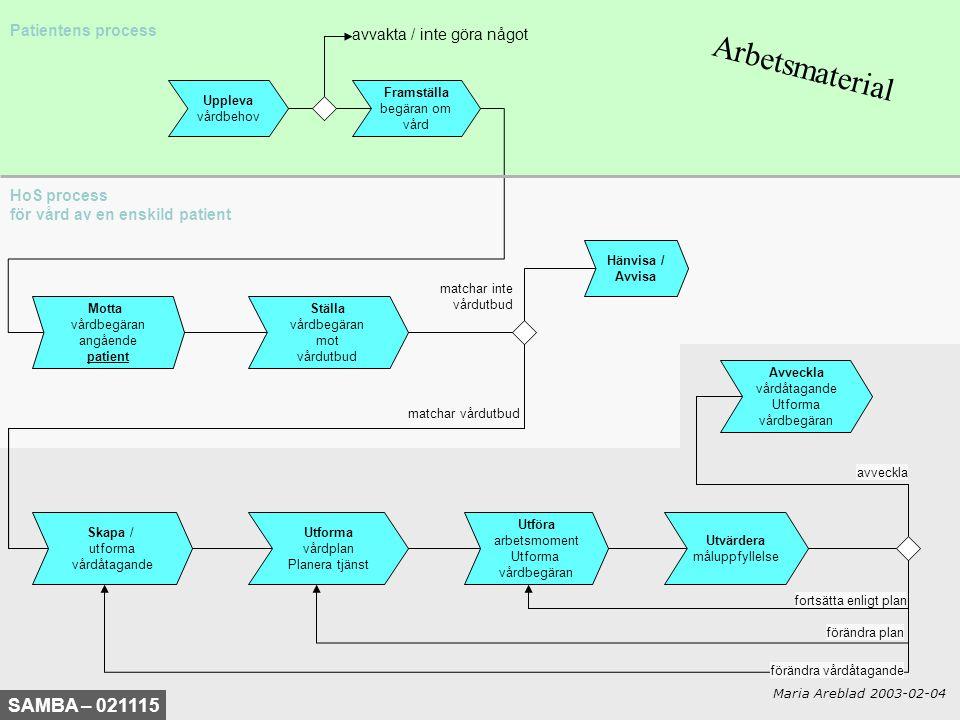 HoS process för vård av en enskild patient Uppleva vårdbehov Patientens process Motta vårdbegäran angående patient Ställa vårdbegäran mot vårdutbud Hä