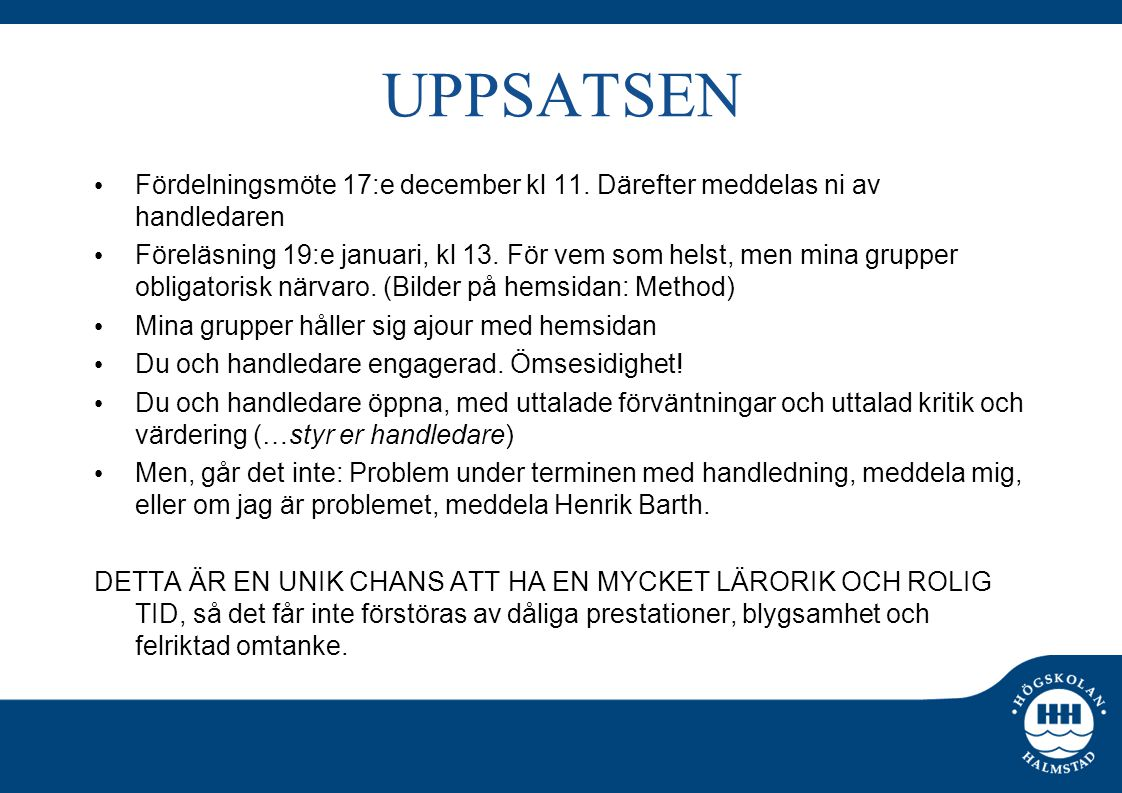 UPPSATSEN Fördelningsmöte 17:e december kl 11.