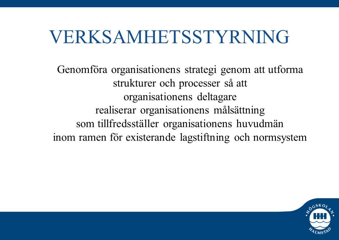 VERKSAMHETSSTYRNING Genomföra organisationens strategi genom att utforma strukturer och processer så att organisationens deltagare realiserar organisationens målsättning som tillfredsställer organisationens huvudmän inom ramen för existerande lagstiftning och normsystem