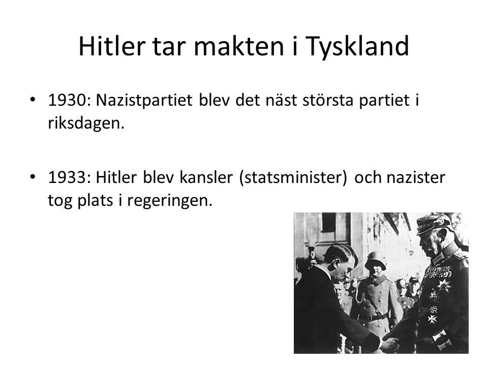 Hitler tar makten i Tyskland 1930: Nazistpartiet blev det näst största partiet i riksdagen. 1933: Hitler blev kansler (statsminister) och nazister tog