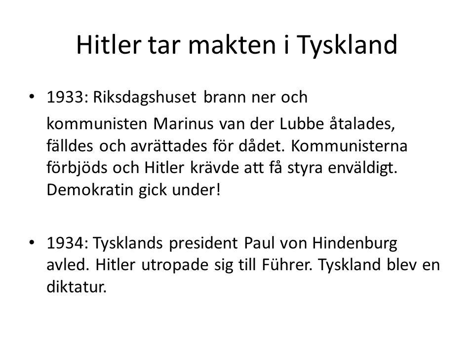 Hitler tar makten i Tyskland 1933: Riksdagshuset brann ner och kommunisten Marinus van der Lubbe åtalades, fälldes och avrättades för dådet. Kommunist