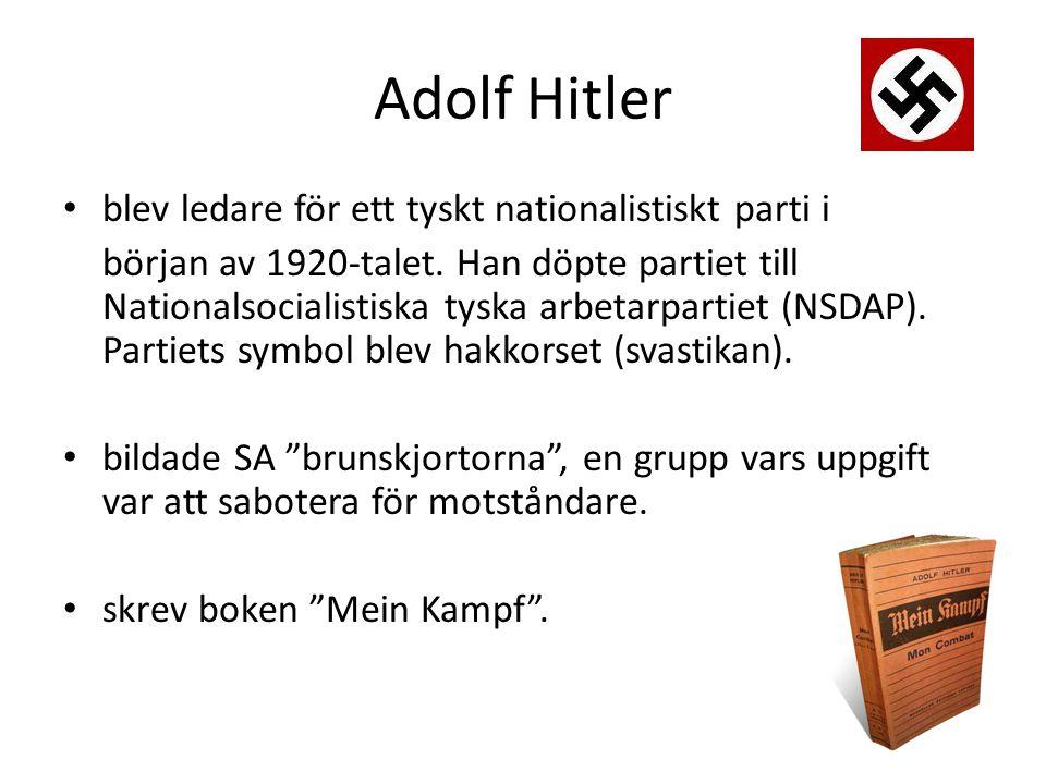 Adolf Hitler blev ledare för ett tyskt nationalistiskt parti i början av 1920-talet. Han döpte partiet till Nationalsocialistiska tyska arbetarpartiet