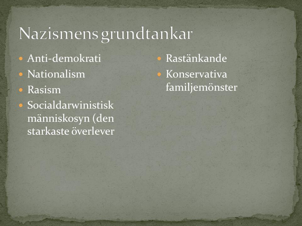 Anti-demokrati Nationalism Rasism Socialdarwinistisk människosyn (den starkaste överlever Rastänkande Konservativa familjemönster