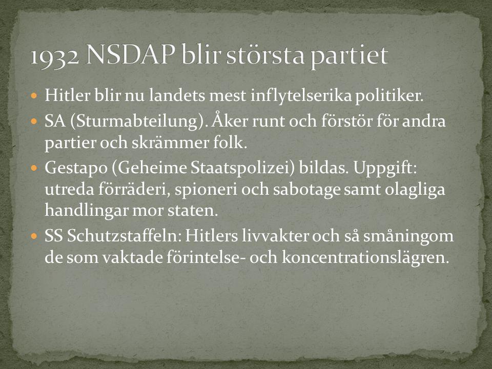 Hitler blir nu landets mest inflytelserika politiker. SA (Sturmabteilung). Åker runt och förstör för andra partier och skrämmer folk. Gestapo (Geheime