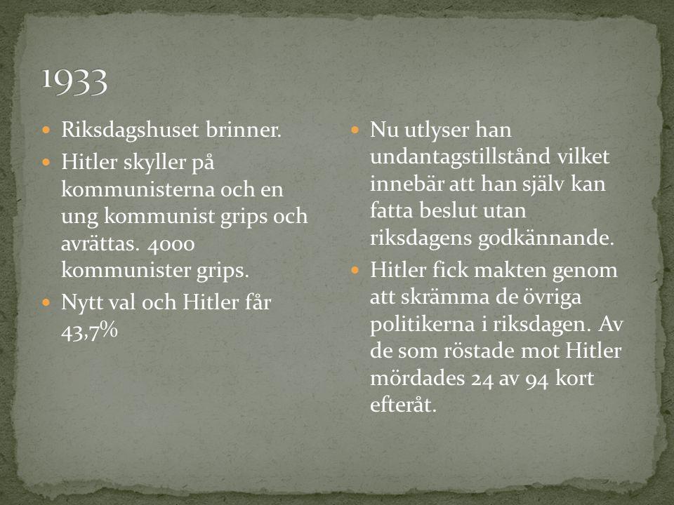 Riksdagshuset brinner. Hitler skyller på kommunisterna och en ung kommunist grips och avrättas. 4000 kommunister grips. Nytt val och Hitler får 43,7%