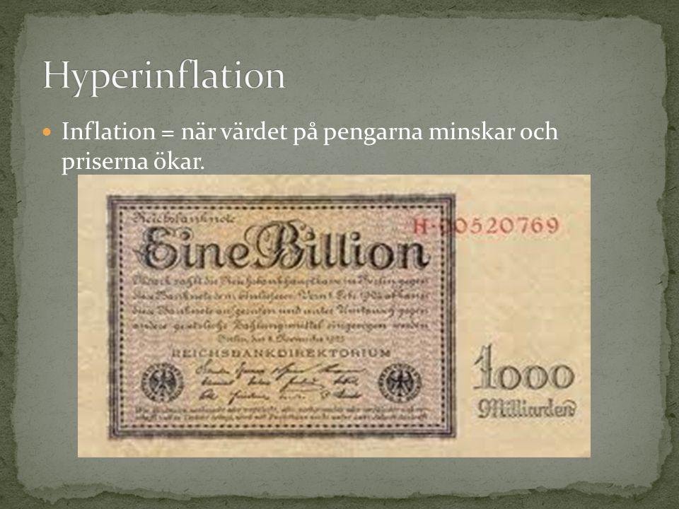 Inflation = när värdet på pengarna minskar och priserna ökar.
