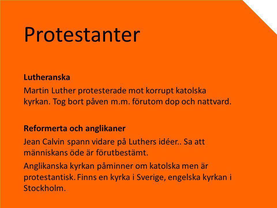 Protestanter Lutheranska Martin Luther protesterade mot korrupt katolska kyrkan. Tog bort påven m.m. förutom dop och nattvard. Reformerta och anglikan