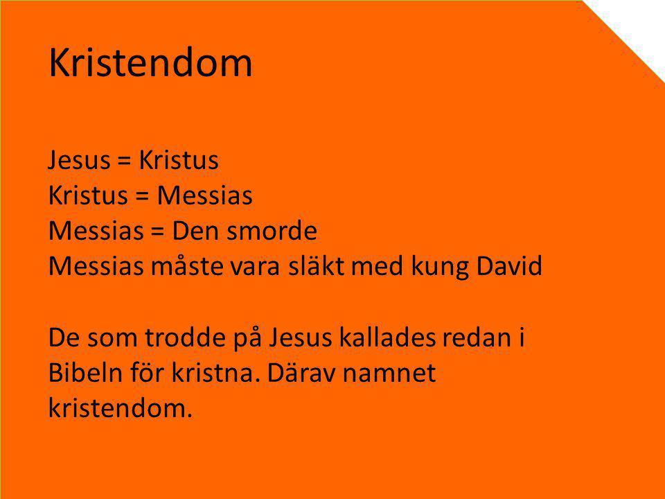 Kristendom Jesus = Kristus Kristus = Messias Messias = Den smorde Messias måste vara släkt med kung David De som trodde på Jesus kallades redan i Bibe
