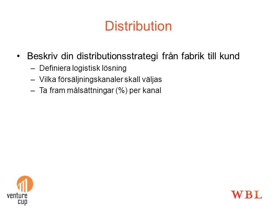 Distribution Beskriv din distributionsstrategi från fabrik till kund –Definiera logistisk lösning –Vilka försäljningskanaler skall väljas –Ta fram mål