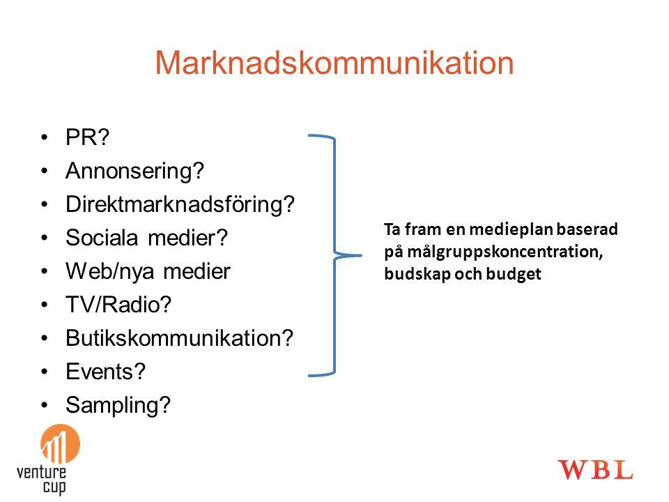 PR? Annonsering? Direktmarknadsföring? Sociala medier? Web/nya medier TV/Radio? Butikskommunikation? Events? Sampling? Ta fram en medieplan baserad på
