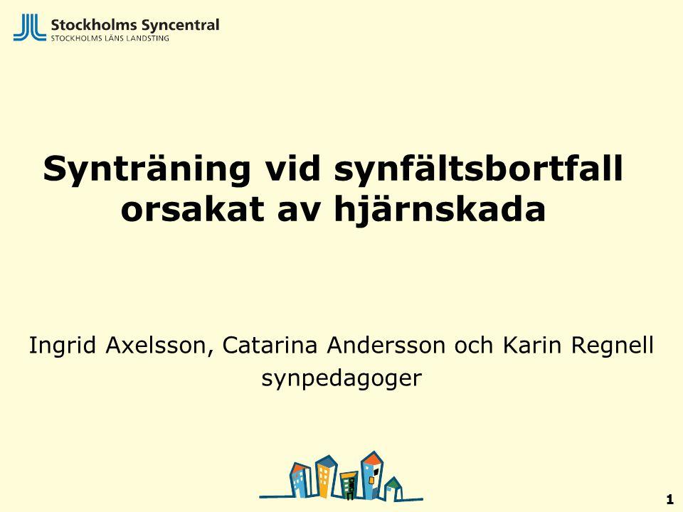 1 Synträning vid synfältsbortfall orsakat av hjärnskada Ingrid Axelsson, Catarina Andersson och Karin Regnell synpedagoger