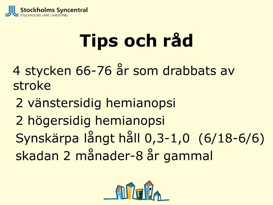 Tips och råd 4 stycken 66-76 år som drabbats av stroke 2 vänstersidig hemianopsi 2 högersidig hemianopsi Synskärpa långt håll 0,3-1,0 (6/18-6/6) skada