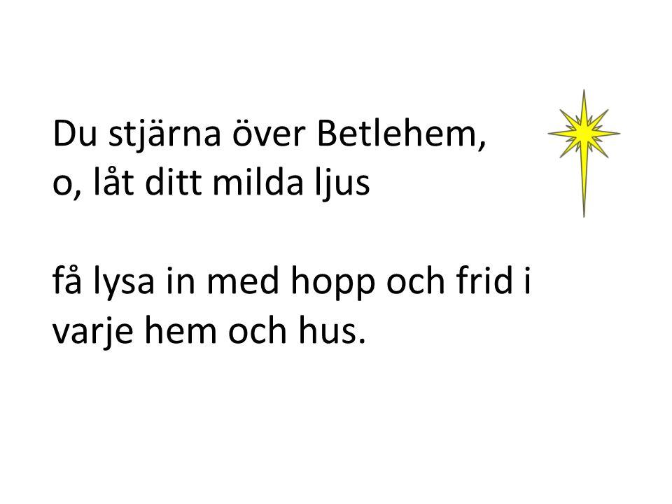 Du stjärna över Betlehem, o, låt ditt milda ljus få lysa in med hopp och frid i varje hem och hus.