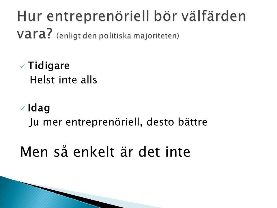 Tidigare Helst inte alls Idag Ju mer entreprenöriell, desto bättre Men så enkelt är det inte