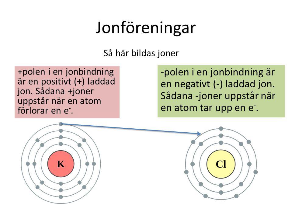 Jonföreningar +polen i en jonbindning är en positivt (+) laddad jon. Sådana +joner uppstår när en atom förlorar en e -. -polen i en jonbindning är en