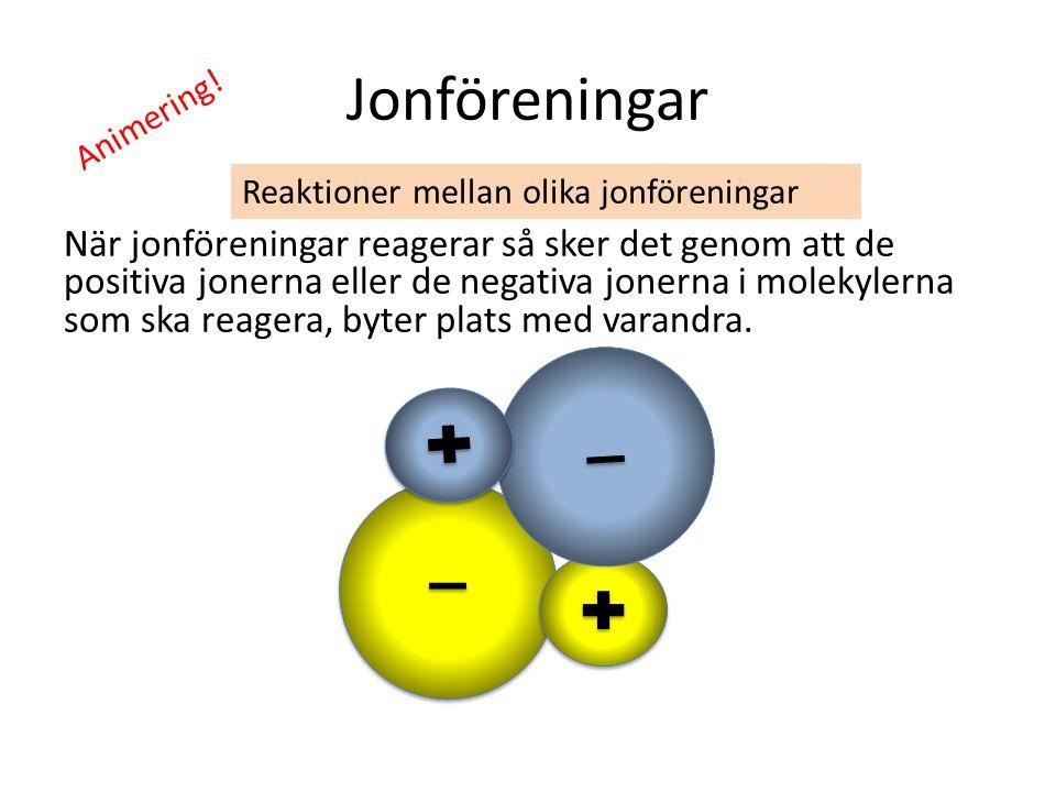 Jonföreningar När jonföreningar reagerar så sker det genom att de positiva jonerna eller de negativa jonerna i molekylerna som ska reagera, byter plat