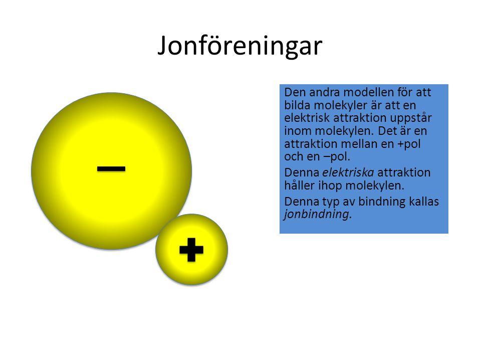 Jonföreningar Den andra modellen för att bilda molekyler är att en elektrisk attraktion uppstår inom molekylen. Det är en attraktion mellan en +pol oc
