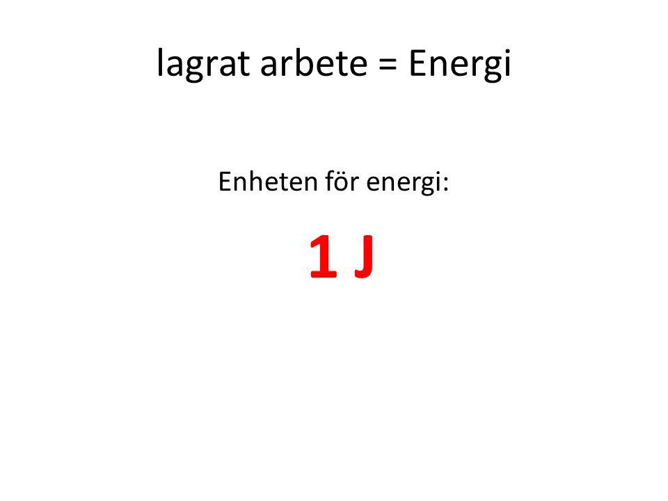 lagrat arbete = Energi Enheten för energi: 1 J