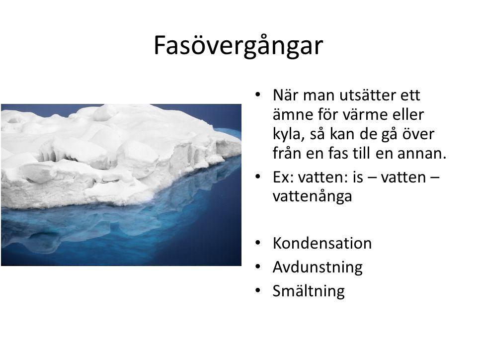 Fasövergångar När man utsätter ett ämne för värme eller kyla, så kan de gå över från en fas till en annan. Ex: vatten: is – vatten – vattenånga Konden