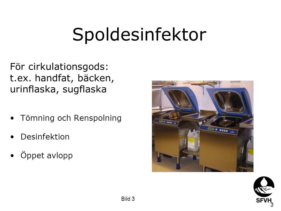 Spoldesinfektor Randspolar bort och ut större partiklar Grovrengöring sker med kallvatten Därefter spolar maskinen varmvatten (ev.