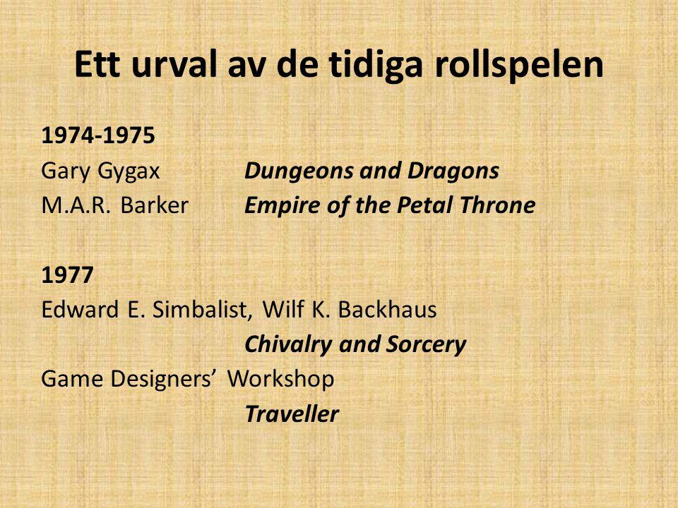 Ett urval av de tidiga rollspelen 1974-1975 Gary GygaxDungeons and Dragons M.A.R. BarkerEmpire of the Petal Throne 1977 Edward E. Simbalist, Wilf K. B