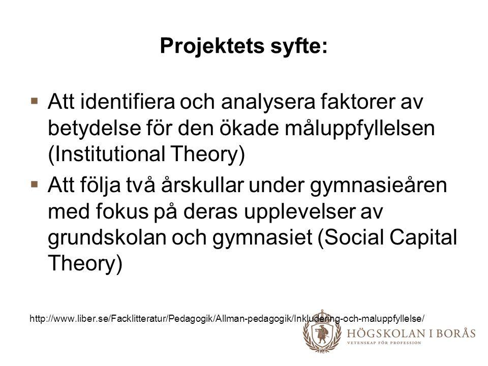 Projektets syfte:  Att identifiera och analysera faktorer av betydelse för den ökade måluppfyllelsen (Institutional Theory)  Att följa två årskullar under gymnasieåren med fokus på deras upplevelser av grundskolan och gymnasiet (Social Capital Theory) http://www.liber.se/Facklitteratur/Pedagogik/Allman-pedagogik/Inkludering-och-maluppfyllelse/