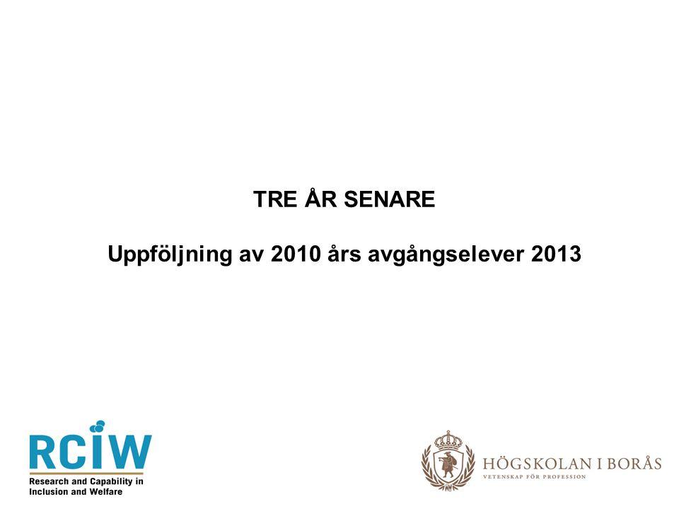 TRE ÅR SENARE Uppföljning av 2010 års avgångselever 2013