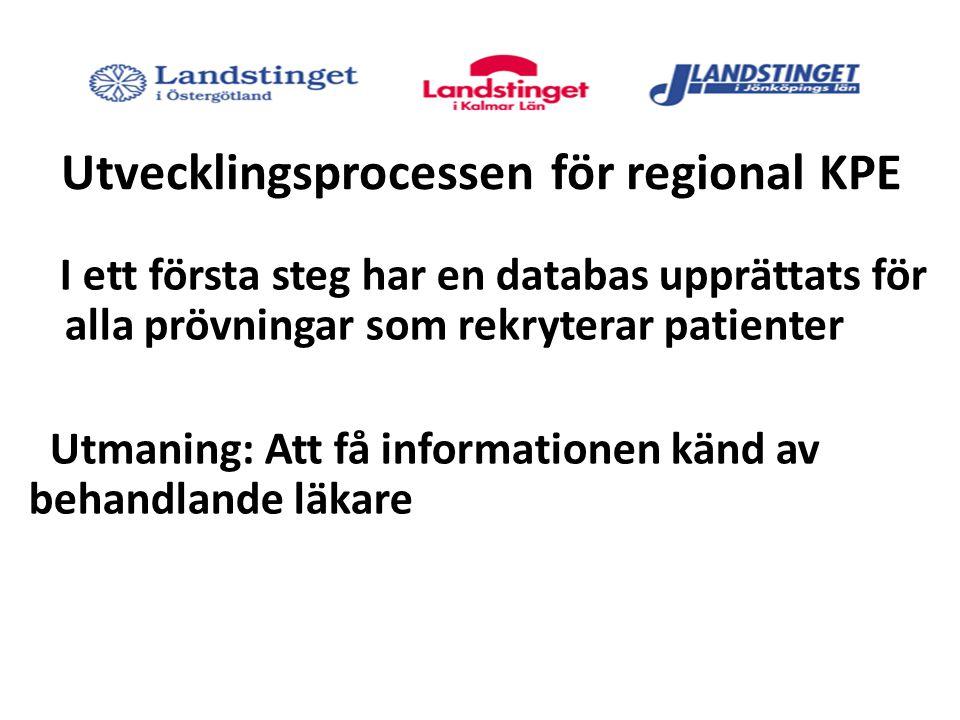 Utvecklingsprocessen för regional KPE I ett första steg har en databas upprättats för alla prövningar som rekryterar patienter Utmaning: Att få informationen känd av behandlande läkare