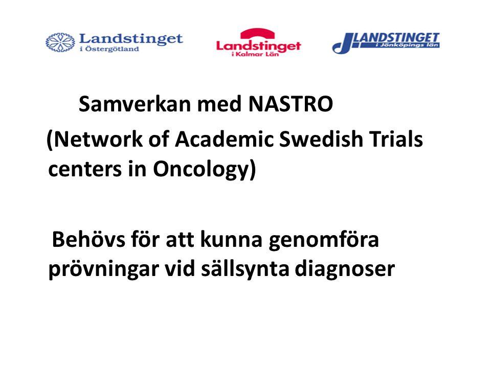 Samverkan med NASTRO (Network of Academic Swedish Trials centers in Oncology) Behövs för att kunna genomföra prövningar vid sällsynta diagnoser
