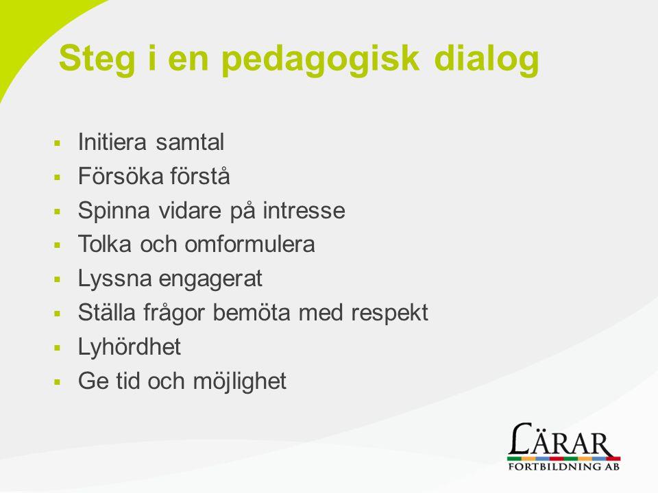 Steg i en pedagogisk dialog  Initiera samtal  Försöka förstå  Spinna vidare på intresse  Tolka och omformulera  Lyssna engagerat  Ställa frågor