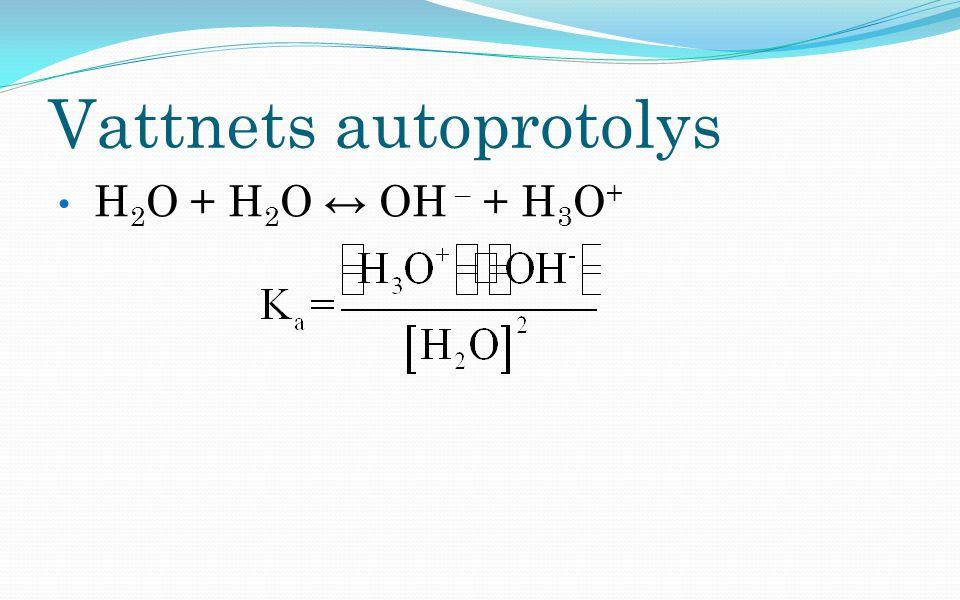 Vattnets autoprotolys H 2 O + H 2 O ↔ OH – + H 3 O +