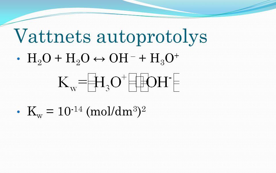 Vattnets autoprotolys H 2 O + H 2 O ↔ OH – + H 3 O + K w = 10 -14 (mol/dm 3 ) 2