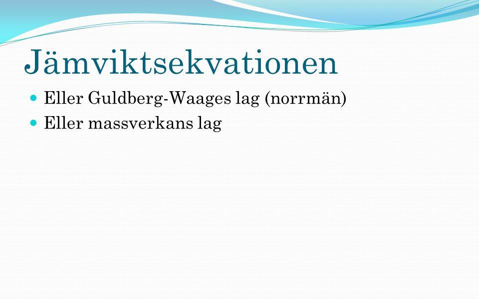 Jämviktsekvationen Eller Guldberg-Waages lag (norrmän) Eller massverkans lag
