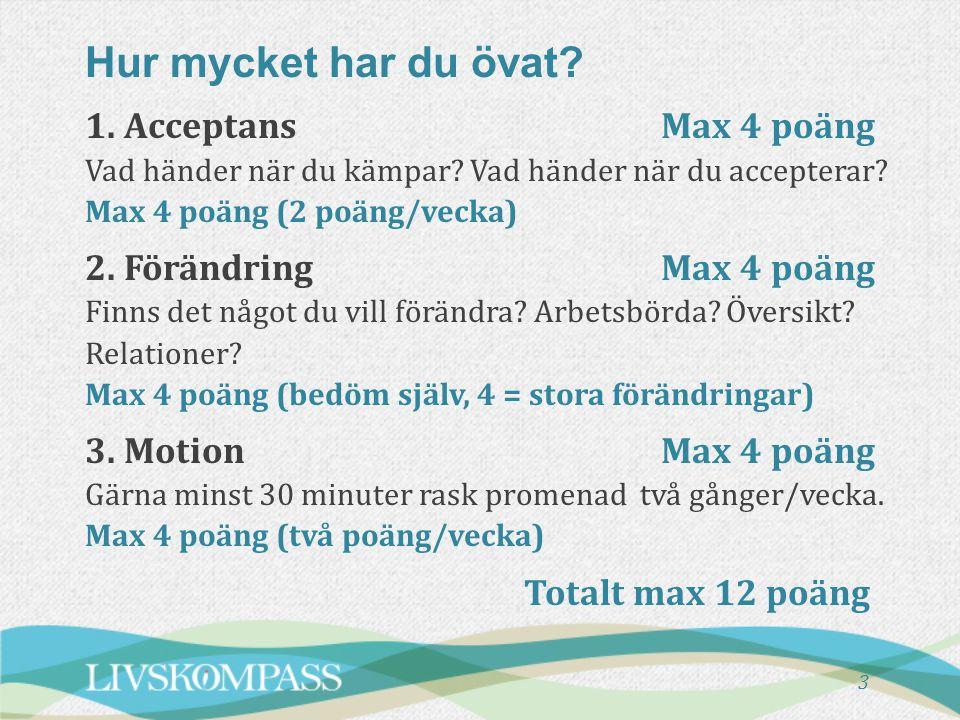 3 1. AcceptansMax 4 poäng Vad händer när du kämpar? Vad händer när du accepterar? Max 4 poäng (2 poäng/vecka) 2. FörändringMax 4 poäng Finns det något