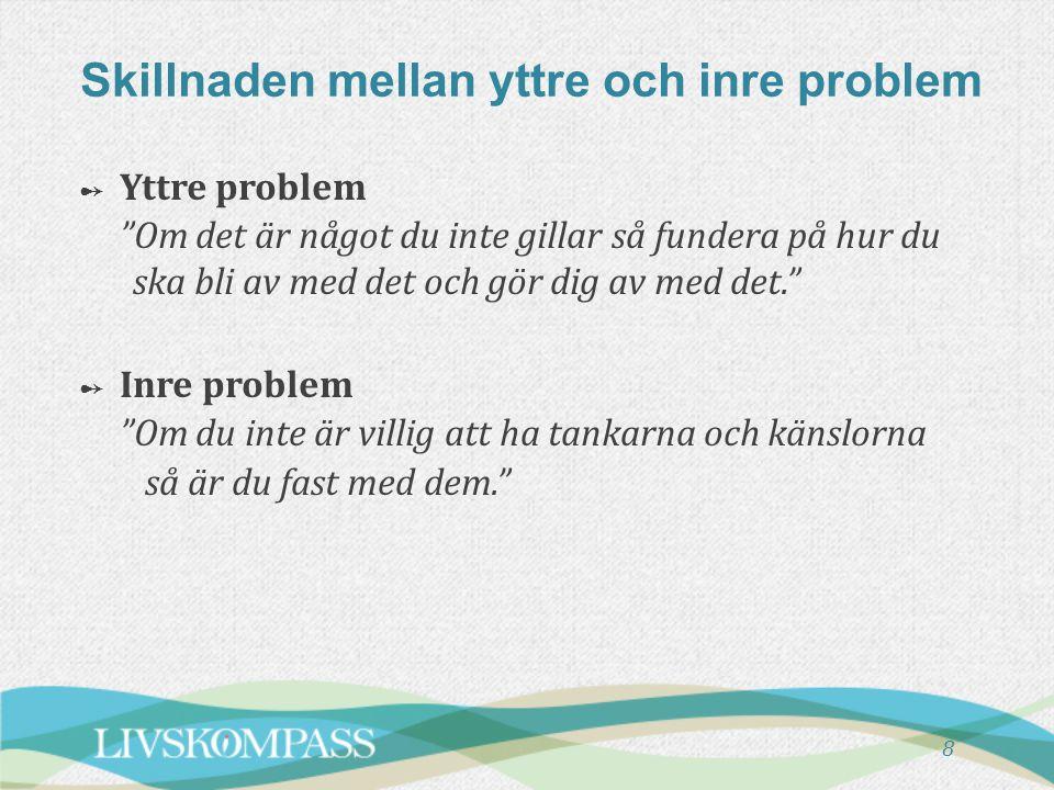 """Skillnaden mellan yttre och inre problem 8 ➻ Yttre problem """"Om det är något du inte gillar så fundera på hur du ska bli av med det och gör dig av med"""