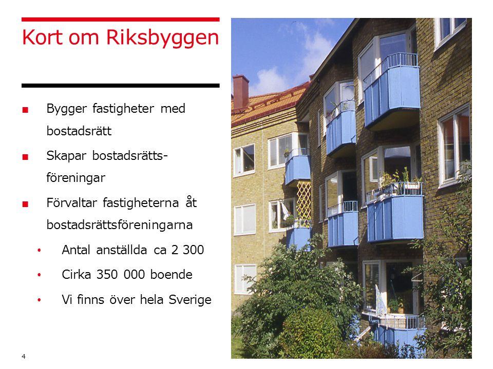 Kort om Riksbyggen ■ Bygger fastigheter med bostadsrätt ■ Skapar bostadsrätts- föreningar ■ Förvaltar fastigheterna åt bostadsrättsföreningarna Antal anställda ca 2 300 Cirka 350 000 boende Vi finns över hela Sverige 4