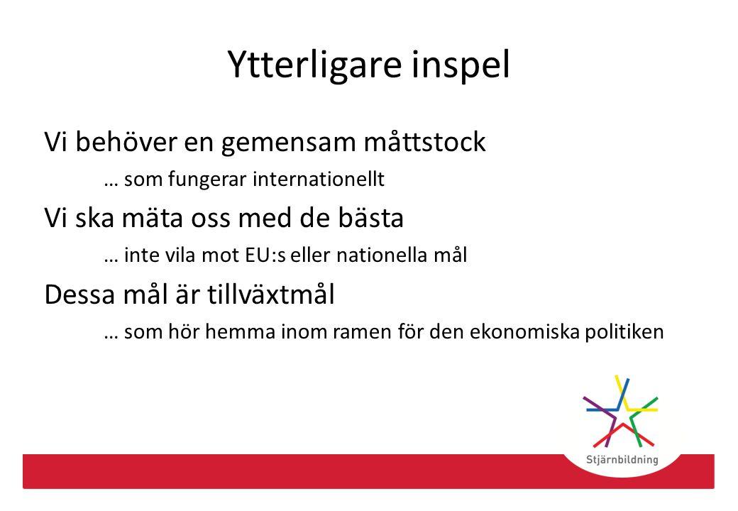 Ytterligare inspel Vi behöver en gemensam måttstock … som fungerar internationellt Vi ska mäta oss med de bästa … inte vila mot EU:s eller nationella