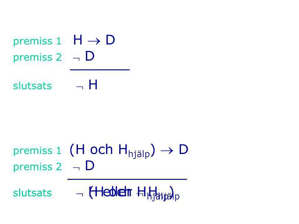 premiss 1 H  D premiss 2 D slutsats  H premiss 1 (H och H hjälp )  D premiss 2 D slutsats  (H och H hjälp ) slutsats  H eller  H hjälp
