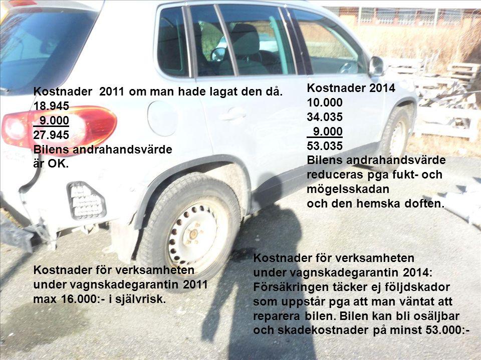 Kostnader 2011 om man hade lagat den då. 18.945 9.000 27.945 Bilens andrahandsvärde är OK.