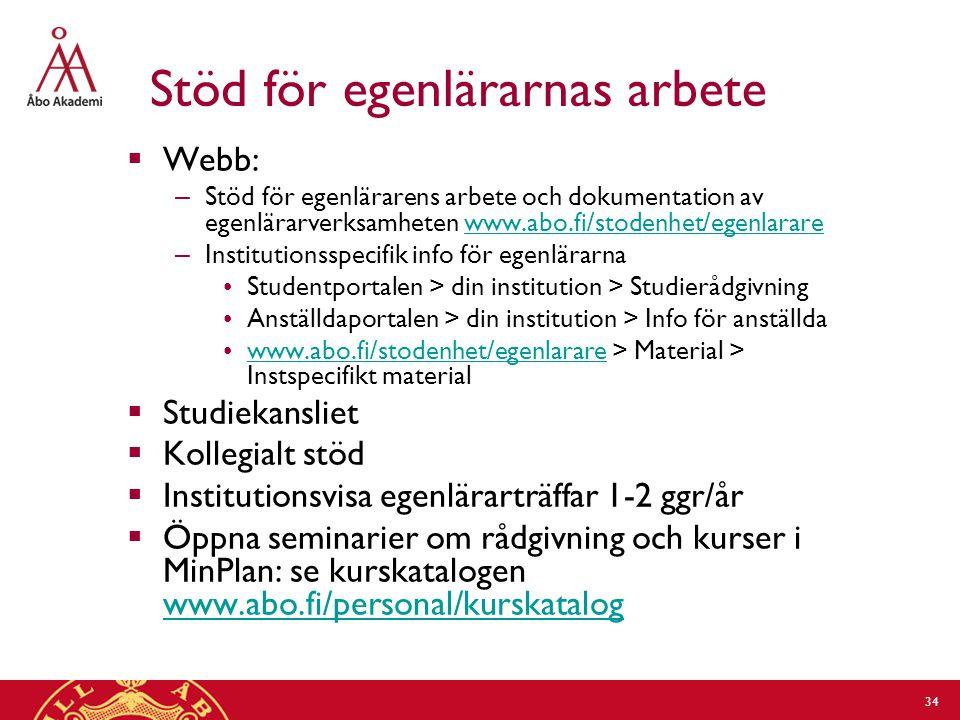 Stöd för egenlärarnas arbete  Webb: – Stöd för egenlärarens arbete och dokumentation av egenlärarverksamheten www.abo.fi/stodenhet/egenlararewww.abo.fi/stodenhet/egenlarare – Institutionsspecifik info för egenlärarna Studentportalen > din institution > Studierådgivning Anställdaportalen > din institution > Info för anställda www.abo.fi/stodenhet/egenlarare > Material > Instspecifikt materialwww.abo.fi/stodenhet/egenlarare  Studiekansliet  Kollegialt stöd  Institutionsvisa egenlärarträffar 1-2 ggr/år  Öppna seminarier om rådgivning och kurser i MinPlan: se kurskatalogen www.abo.fi/personal/kurskatalog www.abo.fi/personal/kurskatalog 34