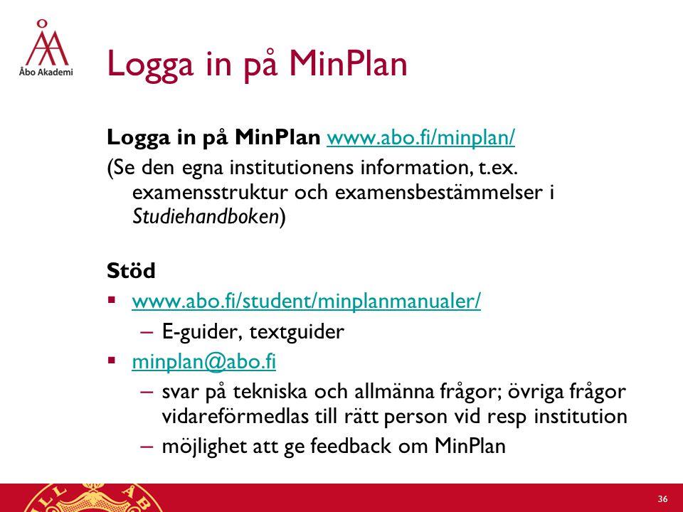 Logga in på MinPlan Logga in på MinPlan www.abo.fi/minplan/www.abo.fi/minplan/ (Se den egna institutionens information, t.ex.