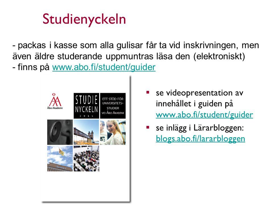 Studienyckeln  se videopresentation av innehållet i guiden på www.abo.fi/student/guider www.abo.fi/student/guider  se inlägg i Lärarbloggen: blogs.abo.fi/lararbloggen blogs.abo.fi/lararbloggen 25.8.2014 6 - packas i kasse som alla gulisar får ta vid inskrivningen, men även äldre studerande uppmuntras läsa den (elektroniskt) - finns på www.abo.fi/student/guiderwww.abo.fi/student/guider