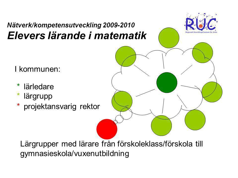 I kommunen: *lärledare * lärgrupp * projektansvarig rektor Nätverk/kompetensutveckling 2009-2010 Elevers lärande i matematik Lärgrupper med lärare frå