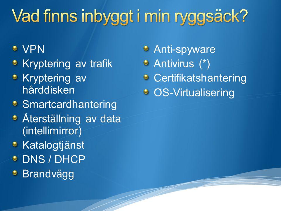 VPN Kryptering av trafik Kryptering av hårddisken Smartcardhantering Återställning av data (intellimirror) Katalogtjänst DNS / DHCP Brandvägg Anti-spyware Antivirus (*) Certifikatshantering OS-Virtualisering