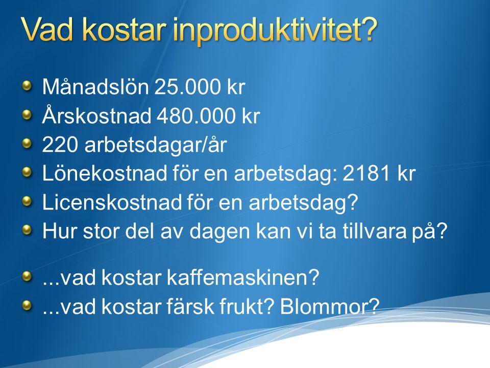 Månadslön 25.000 kr Årskostnad 480.000 kr 220 arbetsdagar/år Lönekostnad för en arbetsdag: 2181 kr Licenskostnad för en arbetsdag.
